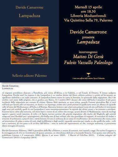 Lampaduza. Il volume di Davide Camarrone sarà presentato il 15 aprile