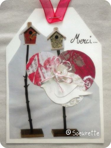 Soeurette Tag Scrap Clean Simple Mixed Media Rose Grise Pin
