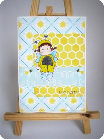 Scrap Inès Carte Card Bee Happy Girl Enfant Fille-copie-2