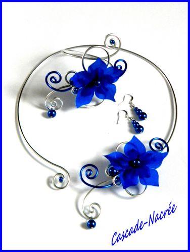 ambre parure bleu roi alu mariage fleurs de soie. Black Bedroom Furniture Sets. Home Design Ideas
