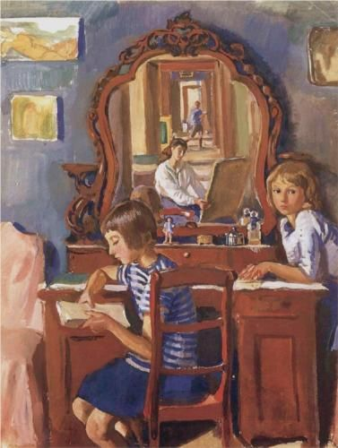 serebriakova-tata-and-katia-in-the-mirror.jpg