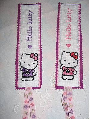 marque page hello kitty brode par marie-jo