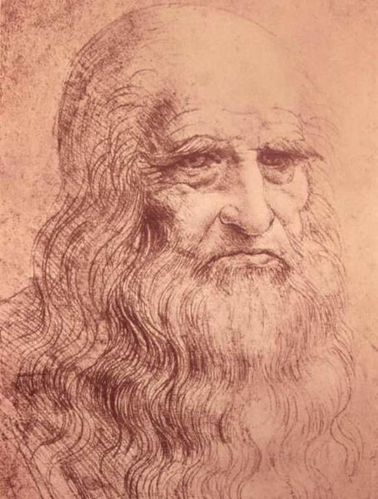 Dessin - Self Portrait in Old Age, Leonardo da Vinci,1512