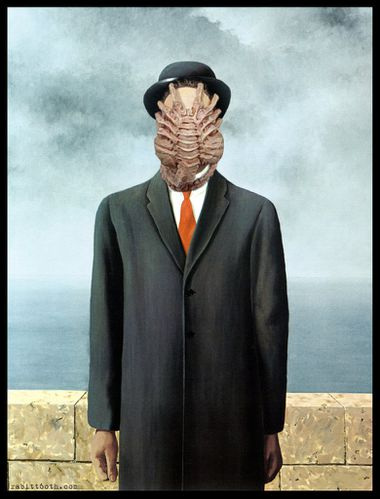 son of alien magritte w alien facehugger mashup by rabitt