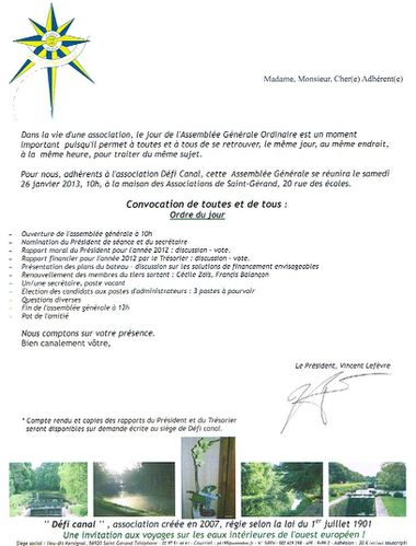 COURRIER CONVOCATION AG 2013