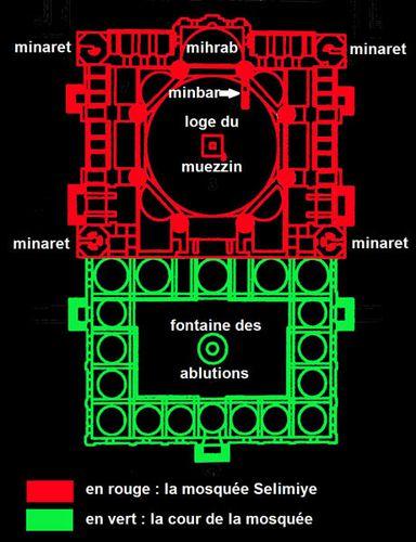 860b3 plan de la mosquée Selimiye (Edirne)