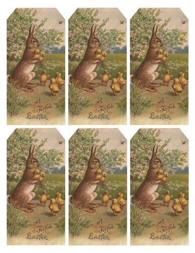 Easter bunny & chicks tags