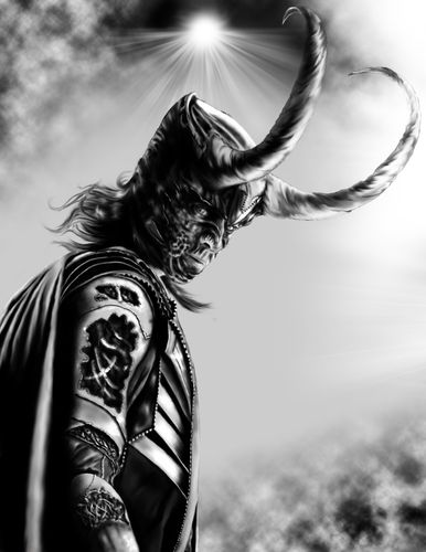 loki biomech black and white finished by rancidrainbow-d5