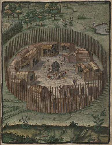 Indian Village of Pomeiooc Theodor de Bry 1590 learnnc.org