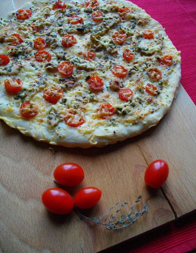 Pizza poulet-moutarde