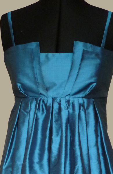 robe soie bleu pétrole Marie B 2
