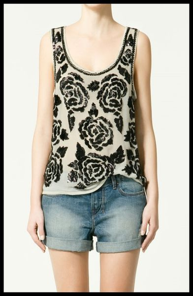 Top zara voile brod paillettes