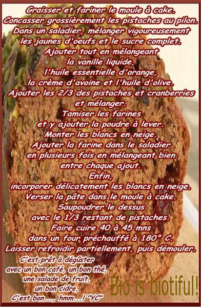 CAKE AUX PISTACHES ET CRANBERRIES . 2