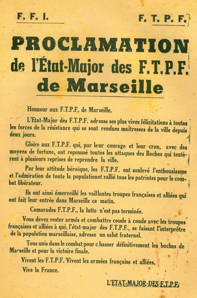 Proclamation Etat-major FTPF
