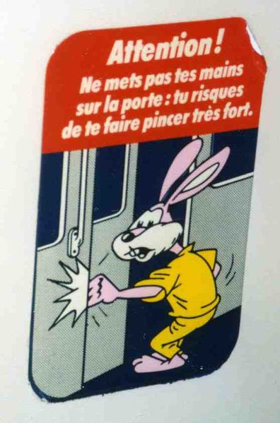 paris metro warning rabbit