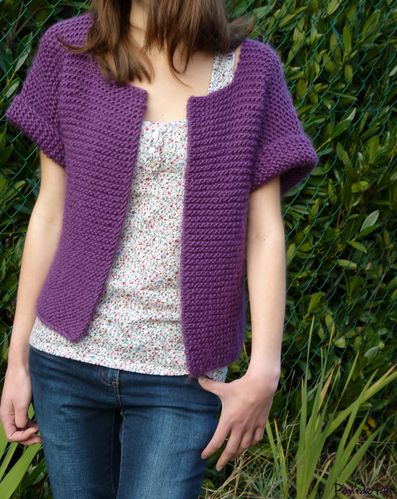 gilet tube point mousse violet 4