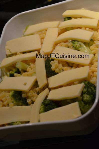 gratin brocoli pate, fromage raclette 2