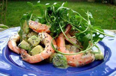 Salade de Gambas, Avocats, Orange Sangine et Roquette 2