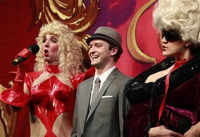 Justin Timberlake between Madonna and Lady Gaga drags