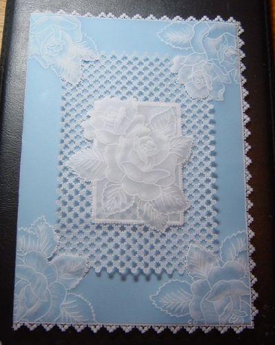 Carte anniv perga roses bleu