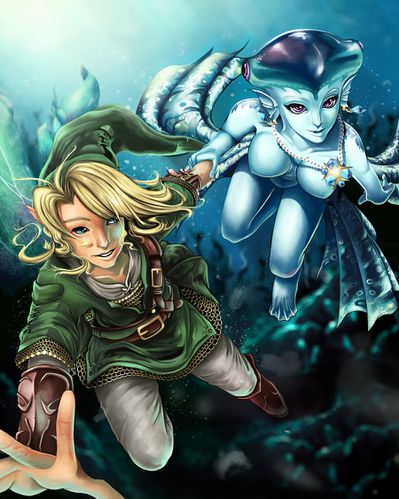 link and princess ruto bathe in time by projectvirtue-d4z