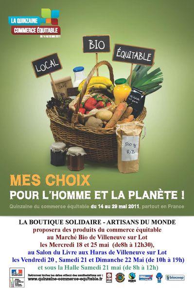 Affiche Quinzaine 2011 boutique solidaire