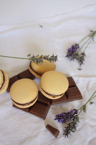 Macarons choc lait-abricots-lavande. (2)