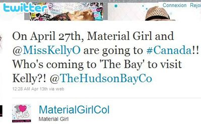 Material Girl: Kelly Osbourne at The Bay in Toronto on April 27, 2011