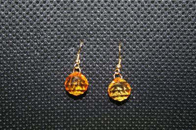 boucles d'oreilles perles oranges transparentes