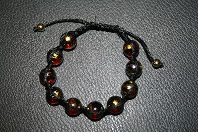 shamballa perles en ver brun or argent