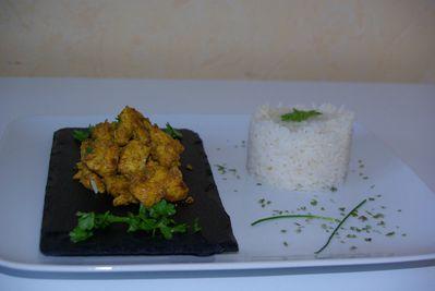 escalope au curcuma et riz blanc