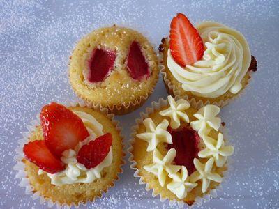 Cupcakes Fraises et chocolat Blanc