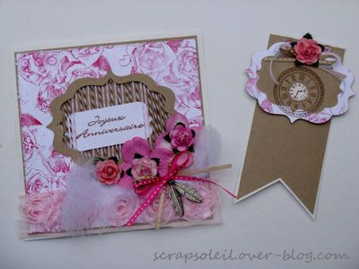 carte + signet rose et kraft