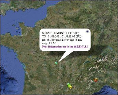 1 aout seisme Montluçon