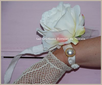 bracelet mariage rose ivoire