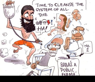 ramdev baba corruption politics yoga enema