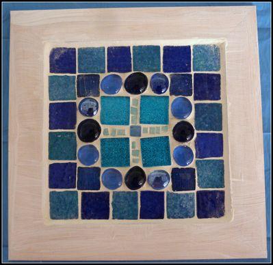 Tableau en mosaïque bleu de Marie