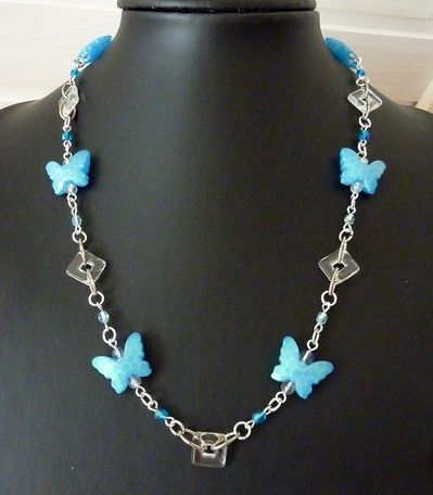 Papillons turquoise-cristal
