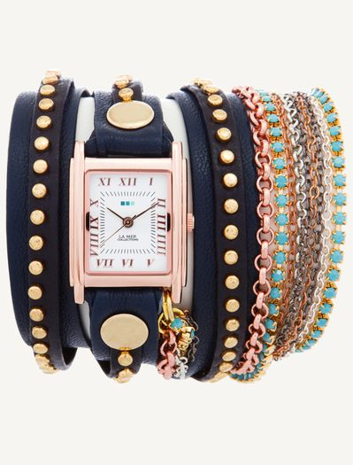 Navy Gold Bali - Rose Gold Case with Turquoise Crystal Chai