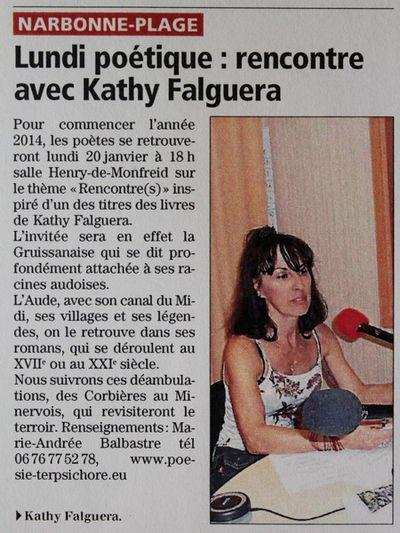 Kathy Falguera romanciere 315 C a 20 janvier 2014