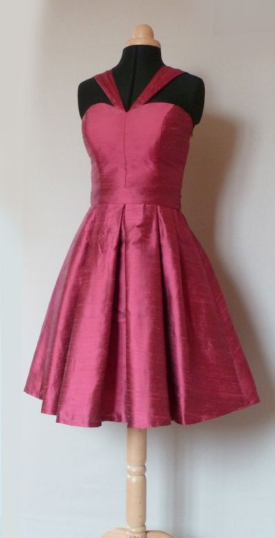 robe cocktail soie framboise Dorothée 1