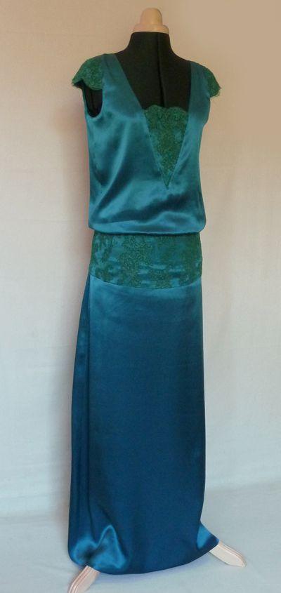 robe satin de soie bleu vert Dorothée E
