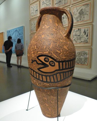 Keith Haring political line vase serpent