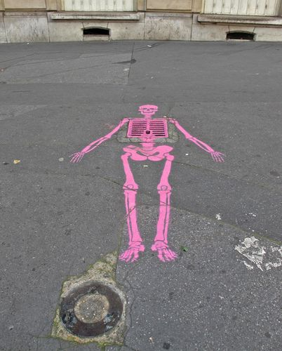 street-art squelette rose 4743