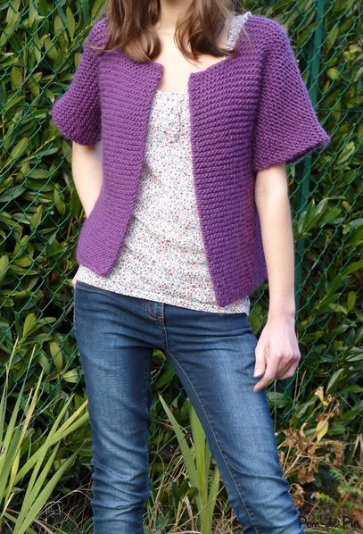gilet tube point mousse violet 2