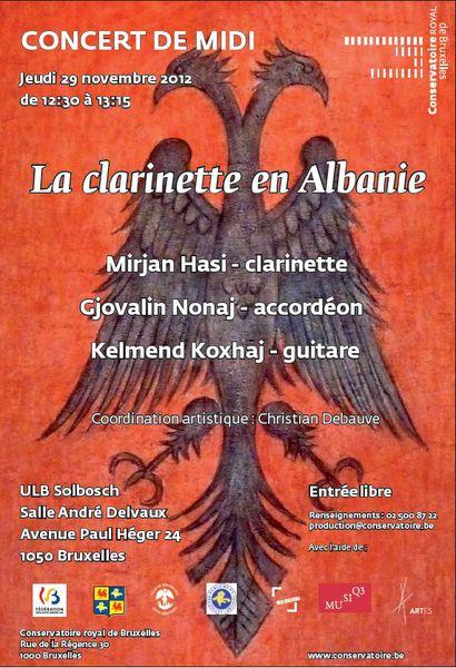 La clarinette en Albanie - Concert de Midi à l'ULB, ce 29 novembre 2012