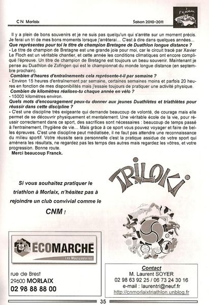 article presse club triathlon morlaix. Black Bedroom Furniture Sets. Home Design Ideas