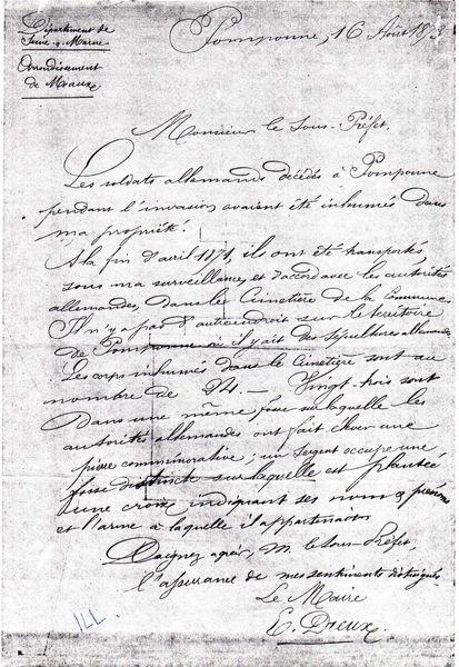 lettre manuscrite dreux