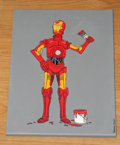 tableau star wars c 3po z 6po en iron man cr aloutre d co. Black Bedroom Furniture Sets. Home Design Ideas