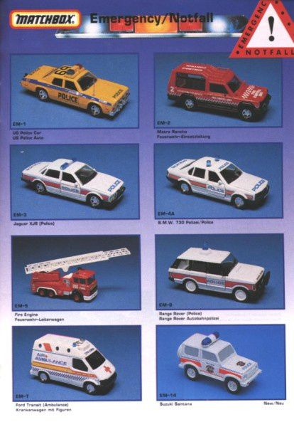 catalogue matchbox annee 1992 s37 set emergency